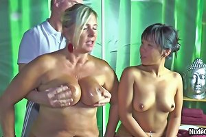 Blonde Milf Nude Chrissy And Asian Brunette Are Doing Handjob For Old Man Txxx Com
