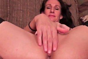 Saggy Tits Mature In Stockings Masturbates