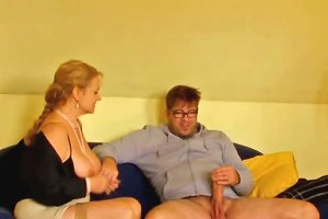 Horny Shy Boy In Glasses Doggy Fucked Chubby Blond Haired Milf Hard