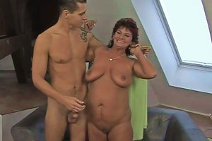 Chubby Cougar Strips Before Sucking Young Stud's Hard Dick Deepthroat